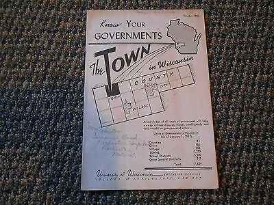 Old Vintage Know Your Goverments 1952 Booklet The Town in Wisconsin UW Madison