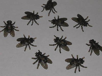 """10 Bugs Halloween Flies Fly Creepy Decoration Brown Insects Scary Effect, 1 1/2"""""""