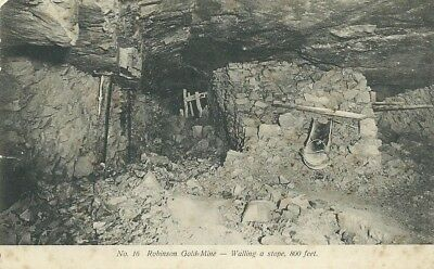 B/W postcard of a stope in the Robinson Deep Gold Mine, Johannesburg, circa 1900