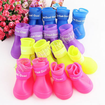 4Pcs Non-Slip Dog Shoes Rain Socks Pet Waterproof Rubber Boots With Gift Present
