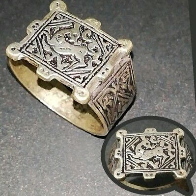 Rare Islamic Brass Ring Old Afghan/Persian Antique Deer Carved engraved vintage