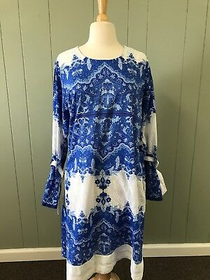 Women's Sana SaFinaz Blue Dress Size L Indian Inspired