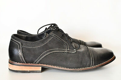 1e7977edc5c STEVE MADDEN MENS Size 10 Oxford Chays Black Leather Shoe Cap Toe Lace Up  Loafer