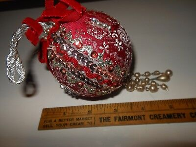 Vintage Handmade Red & Silver Satin Beaded Ornament from '70's Kit