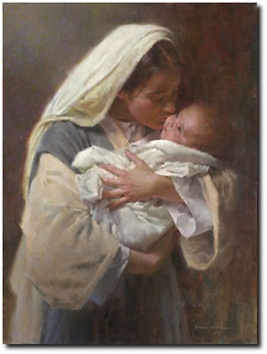 Kissing the Face of God by Morgan Weistling - Mary - Baby Jesus - Mother and Son