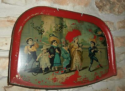 Victorian    Tin  Tray  Wall  Decoration  Child  Scenery   Magnficent