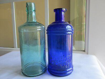 Two Stafford's Master Ink Bottles Cobalt Blue And Light Blue Green