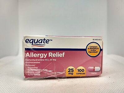 Equate Allergy Relief Diphenhydramine capsules, 25 mg, 100 Ct, Exp 2/20 or later
