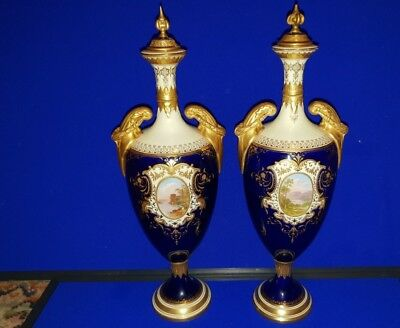 Pair of late 19th  or Early 20th Century Coalport Cobalt Blue Landscape Vases