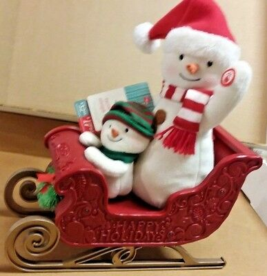 New 2016 Hallmark Twinkling Sleigh Animated Jingle Pals Snowman Sled