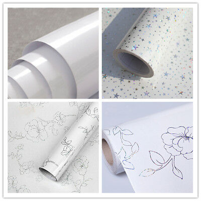 White Self Adhesive Contact Paper Vinyl Wallpaper Roll Kitchen Cabinet Decor