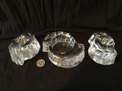 Galway Crystal Glass Candle Holder - Tea Light - Set Of 3 - Mint