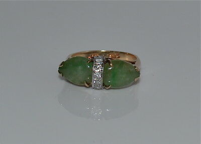 Vintage Chinese Jadeite Jade and Diamond 14 kt Gold 585 Ring Size 7