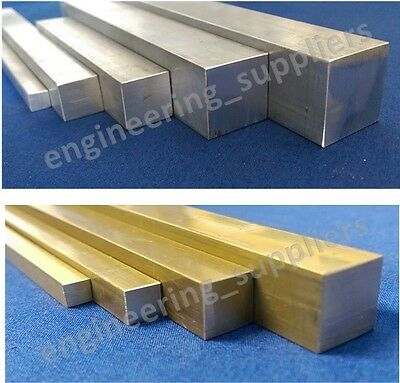 "Square Rod Bar Aluminium & Brass 3/16, 1/4, 3/8, 5/8, 1/2 & 1"", 100 - 600mm long"