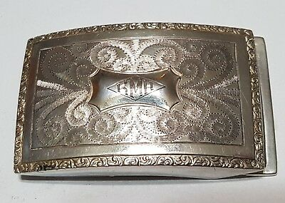 Antique Sterling Silver Belt Buckle GEORGE L. PAINE Company - Solid .925 Silver