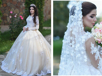 Wedding Dresses Bridal Ball Gowns Long Sleeves Appliques Illusion