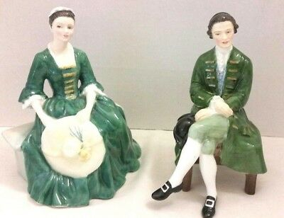 Vintage Royal Doulton Williamsburg  Lady & Gentleman Porcelain 2 Figurines