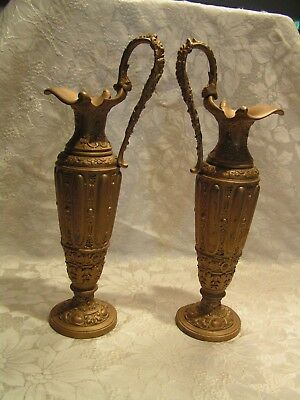 "ANTIQUE PAIR of VICTORIAN METAL CAST IRON 14"" GILT BRONZE ORNATE EWER URNS"