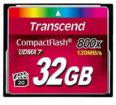 Transcend CF 32GB 800X 120MB/s Read 40MB/s Write Compact Flash Card New tbs UK