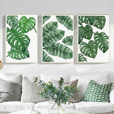 Green Plant Leaves Canvas Painting Wall Art Poster Nordic Print Home Decoration