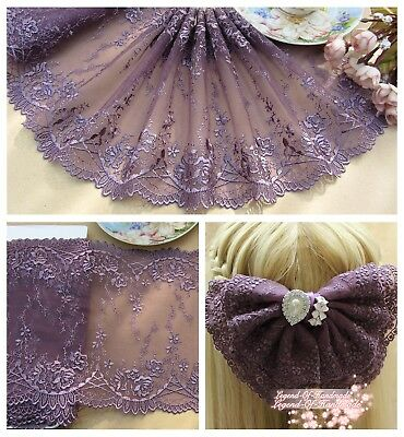 "7.5""*1Y Embroidered Floral Tulle Lace Trim~Deep Purple~Elegant~"