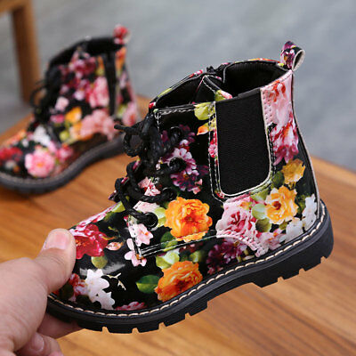 26-30 Small Kids Girls High Top Martin Boots Shoes Flower Faux Leather Lace Up