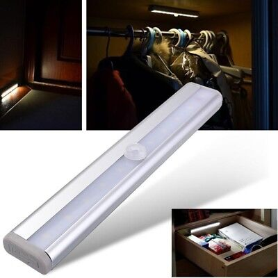 New 10 LED Motion Sensor Under Cabinet Light Strip Bar Night Lamps Home Battery