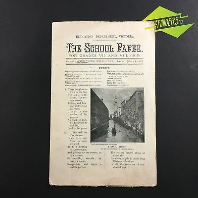1913 'The School Paper' Education Dept Victoria Melbourne Grades 7 & 8