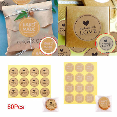60pcs Handmade With Love Thank you Label Sealing Stickers Candy Bag Party Gift