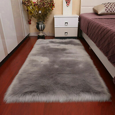 Faux Sheepskin Faux Fur Wool Rug Gray Carpet Shaggy Fluffy Soft Mat Pad 60x120cm