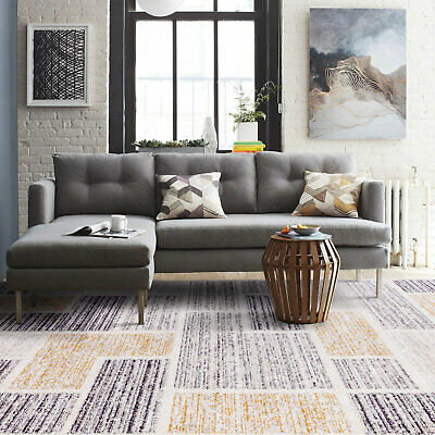 Clearance! Large Floor Rug Grey Gold Neutral Soft Plush Lounges Carpet 3 Sizes