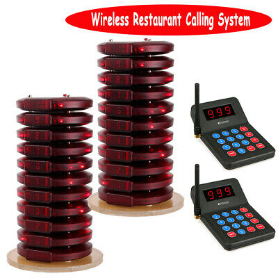 Restaurant Wireless Calling Queuing System 2*Keypad Transmitter+20*Call Pagers