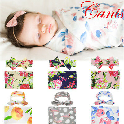 US STOCK Kid Baby Girl Floral Blanket Headband Wrap Cloth Wrapping Swaddle Towel