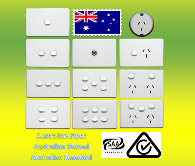 10 Amp 240V Double Power Point Socket Outlet GPO Wall Light Switch