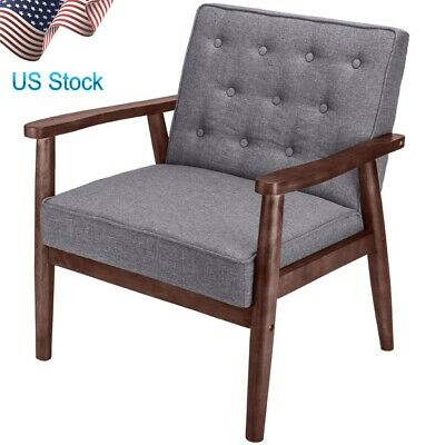 """30"""" Mid-Century Retro Modern Fabric Upholstered Wooden Lounge Chair Grey"""