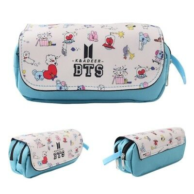 Kpop BTS Logo Bangtan Boys Pencil Case Students Zip Stationery Bags Fashion