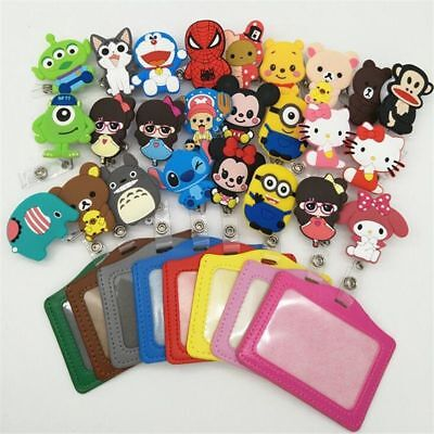 Cartoon ID Holder Silicone Case Credit Card Bus Identity Badge Retractable Reel