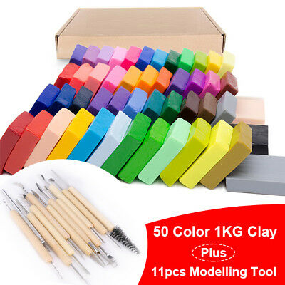 50 Colors 1KG Clay Block Polymer Kids Modelling Modelling Tools Moulds Set