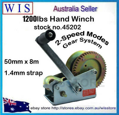 1200lb Hand winch 2 Speed 8M Sythetic Strap 4WD Boat Trailer-45202
