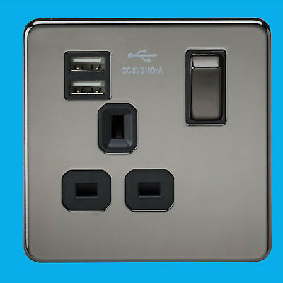 1 Gang Stainless Steel Switched 13A UK 3 Pin Flush Wall Socket with 2x USB Ports