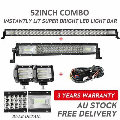 """52Inch LED Light Bar Combo + 22'' + 4"""" CREE Pods Offroad SUV ATV Ford Jeep 50"""""""