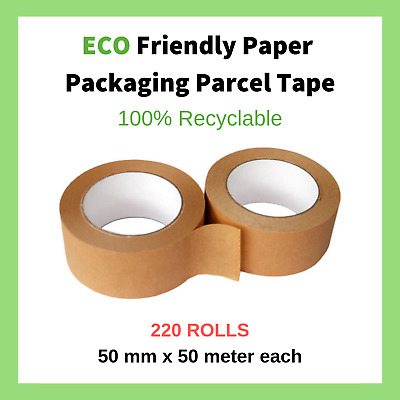 220 Rolls of Eco Friendly Kraft Paper Parcel Packaging Tape Strong Packing