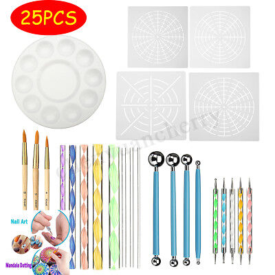 25Pcs Mandala Dotting Tools Rock Nail Art Pen Paint Stencil Kit Painting Pottery