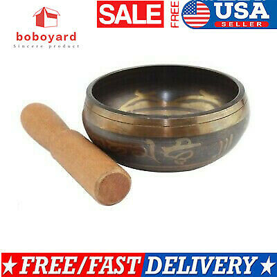 Hand Hammered B Crown Chakra Tibetan Meditation Yoga Singing Bowl Set