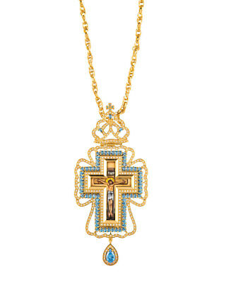 Gold Plated Sterling Silver 925 Purity Greek Orthodox Episcopal Pectoral Cross