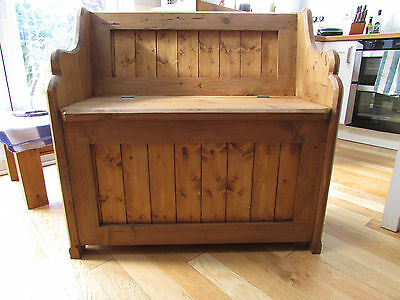 Pine pew/ monks bench/box settle/ with storage under seat.
