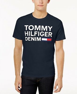 $115 Tommy Hilfiger Men'S Blue Logo Graphic Crew-Neck Short-Sleeve Tee T-Shirt S