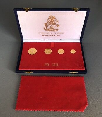 RARE 1973 / 1974 Bahamas Year of Independence Gold Coin Proof Set w/ Case