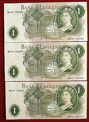 3 UNCIRCULATED (NM) CONSECUTIVE J B Page £1 Notes - BR45 732332 to BR45 732334