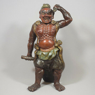 A Good Japanese Pottery Red Bodied Temple Guardian Agyo - 19Th Century